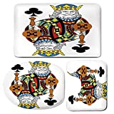 3 Piece Bath Mat Rug Set,King,Bathroom Non-Slip Floor Mat,King-of-Clubs-Playing-Gambling-Poker-Card-Game-Leisure-Theme-without-Frame-Artwork,Pedestal Rug + Lid Toilet Cover + Bath Mat,Multicolor
