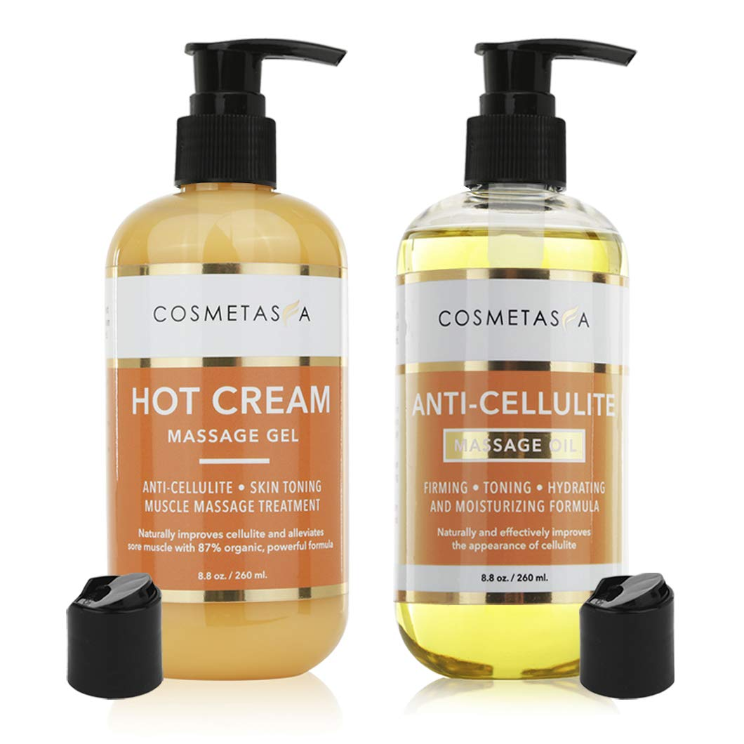 Anti Cellulite Massage Oil & Hot Cream Massage Gel- 100% Natural Cellulite Treatment, Deeply Penetrates Skin to Break Down Fat Tissue- Firms, Tones, Tightens & Moisturizes Skin- Muscle Pain Relief by Cosmetasa
