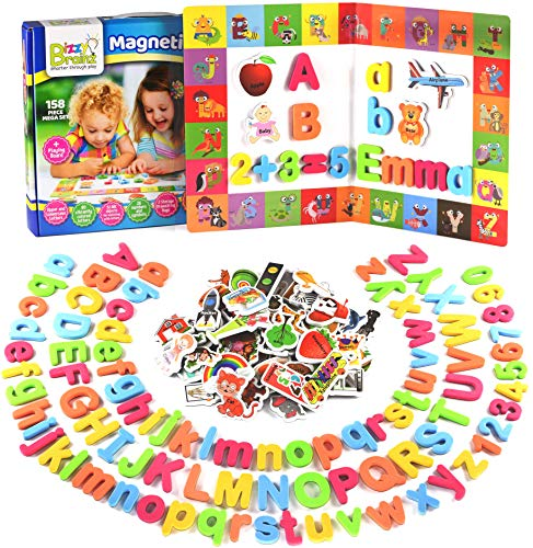 Alphabet Magnets + Matching A-Z Objects / ABC Magnets, Numbers and Board + E-Book with 35 Learning & Spelling Games Included | Magnetic Letters and Numbers for Toddlers