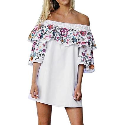 Mujeres Floral de Hombro Vestido, LILICAT Mini Vestido de Fiesta Playa Moda Verano Otoño (