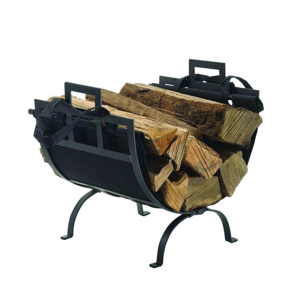 Pleasant Hearth Heavy Duty 22'' Decorative Firewood Rack in Traditional Wrought Iron Design with Removable Canvas Tote, Powder Coated Black Finish, Fits Any Fireplace Perfectly!