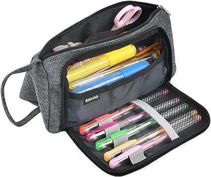 Estuche para escuela individual gris oscuro YOTINO para adolescentes, Estuche para lápices de gran capacidad con compartimento para papelería, tarjetas o cable de carga: Amazon.es: Oficina y papelería