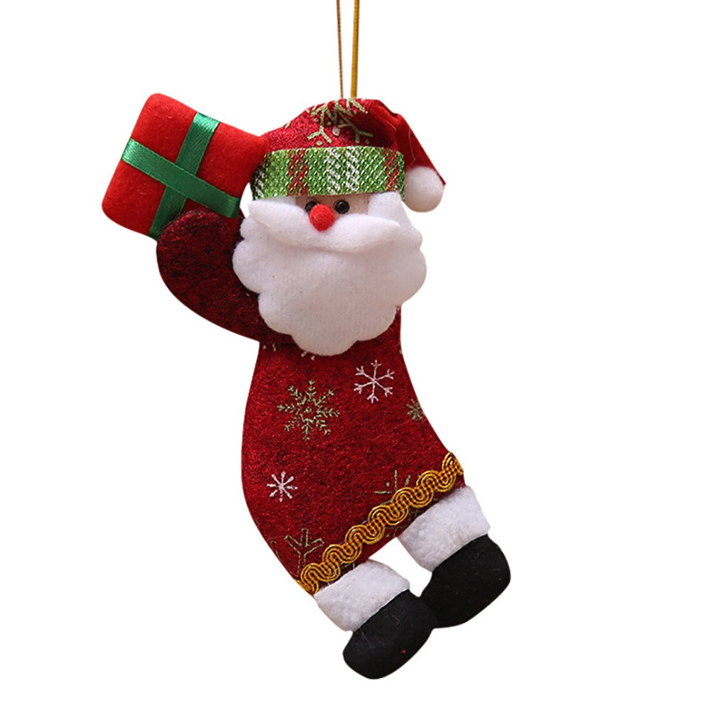 Liouhuble Christmas Doll Pendant,Santa Claus Snowman Tree Hanging Toy Gift Decorations Ornaments (B)