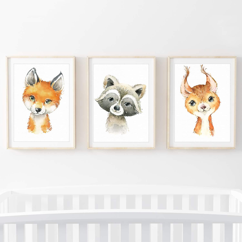 Dachs Panda 3er Set AFFE Frechdax/® Lot de 3 Poster pour Chambre denfant Motif Animaux de la for/êt Safari Afrique Animaux Portrait Animaux DIN A4