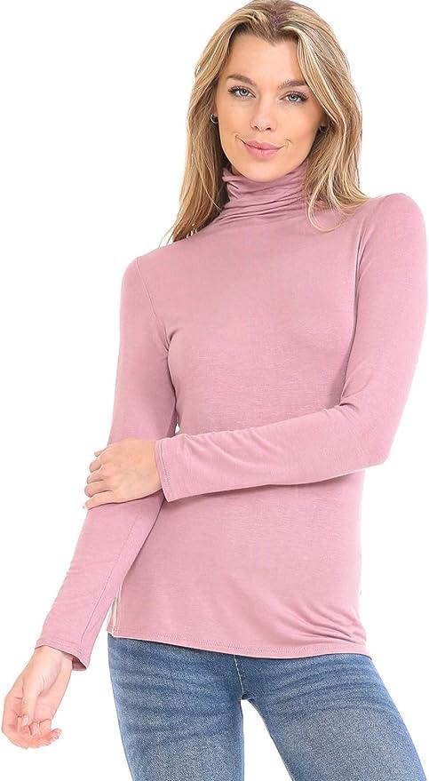 POPZONE Womens Soft Long Sleeve Slim Basic Turtleneck Lightweight Pullover Tops