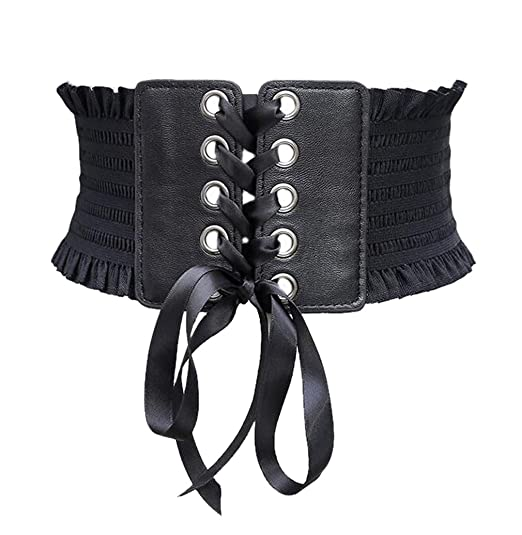 5f44e575ce Image Unavailable. Image not available for. Color  Womens Corset Belt  Elastic Wide Stretch Waist Belt with Ribbon Cincher