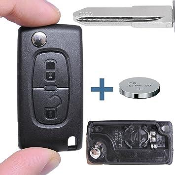 – Llave Carcasa Llave Mando a distancia Llave de Coche en blanco NE78 + Batería para Citroen/Peugeot/Fiat