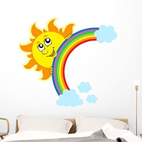 Lurking Sun With Rainbow Wall Decal By Wallmonkeys Peel And Stick Graphic  (48 In W