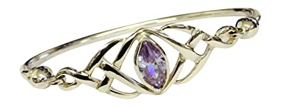 Sterling Silver Celtic Knot Bangle with a Marquise Alexandrite Cubic Zirconia - June