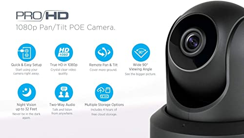 2-Pack Amcrest ProHD IP2M-841EB 1080P POE Power Over Ethernet IP Camera w Pan Tilt, Two-Way Audio, 90 Degree FOV, Black