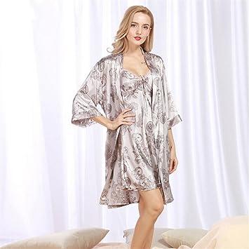HSDDA Toalla de baño Las Mujeres del dragón Estampado Batas de Manga Larga Albornoz Pijama camisón