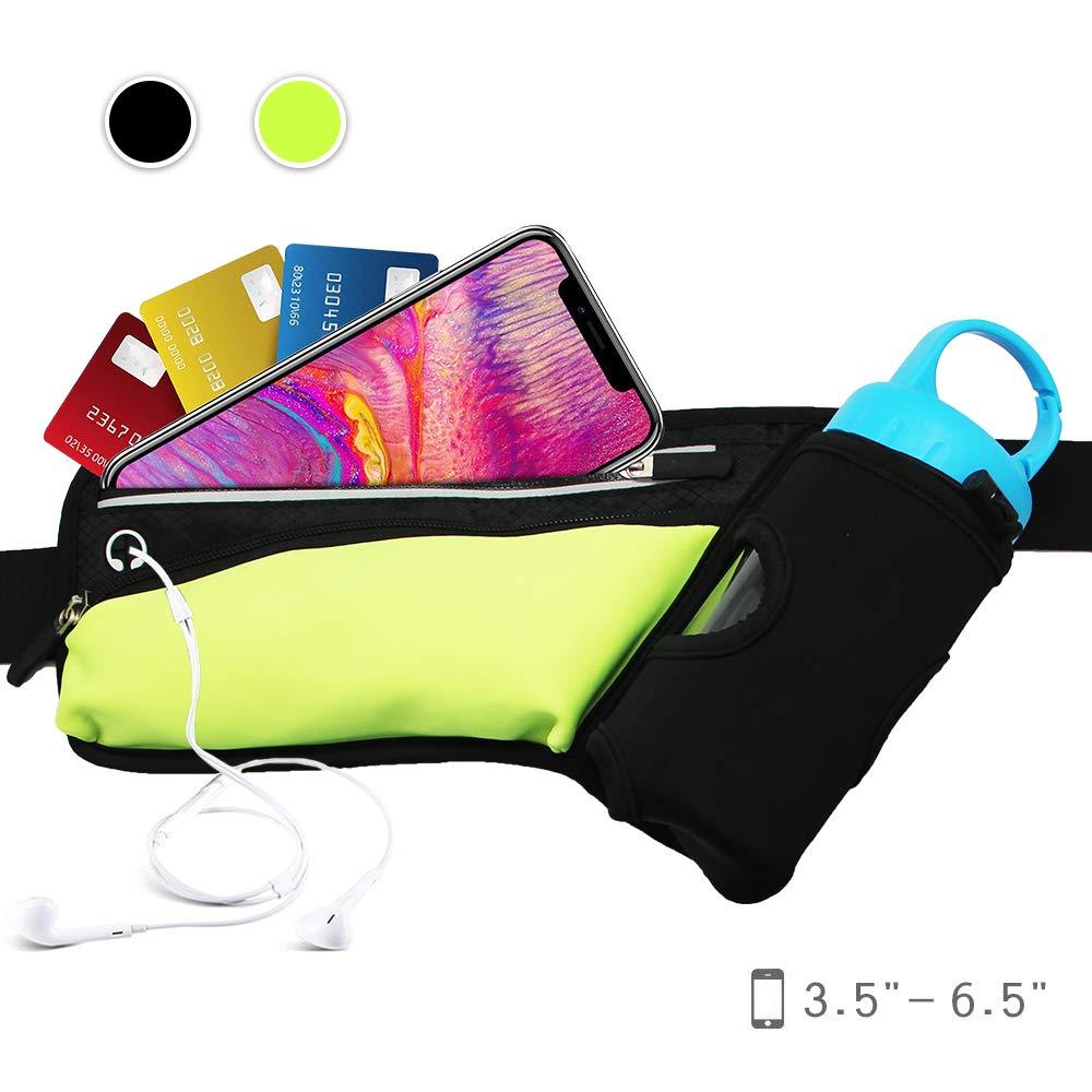 Noryer ランニング用ハイドレーションベルト ポーチ2つとホルスター1つ付き 通気性のあるメッシュウエストパック ランナーレディース&メンズ用 iPhone 6、8、8Plus対応  グリーン B07GRJPSXK