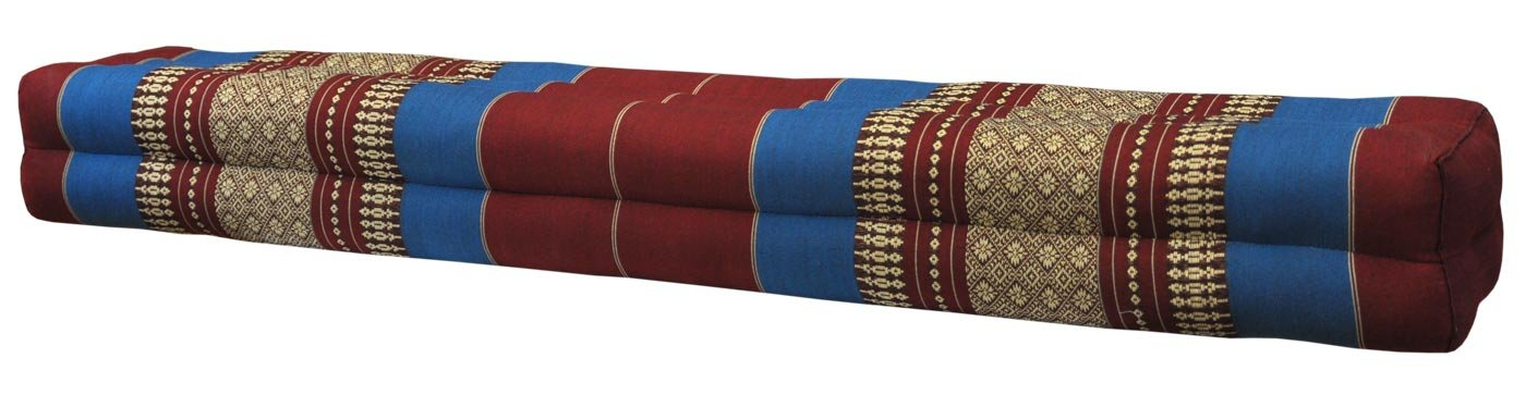 Thai cushion bolster , pillow, sofa, imported from Thaïland, red/blue, relaxation, beach, pool, meditation garden (81211)