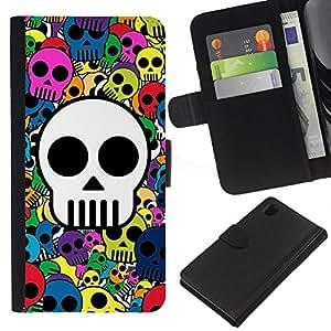 A-type (Modelo del cráneo colorido impresionante) Colorida Impresión Funda Cuero Monedero Caja Bolsa Cubierta Caja Piel Card Slots Para Sony Xperia Z1 L39