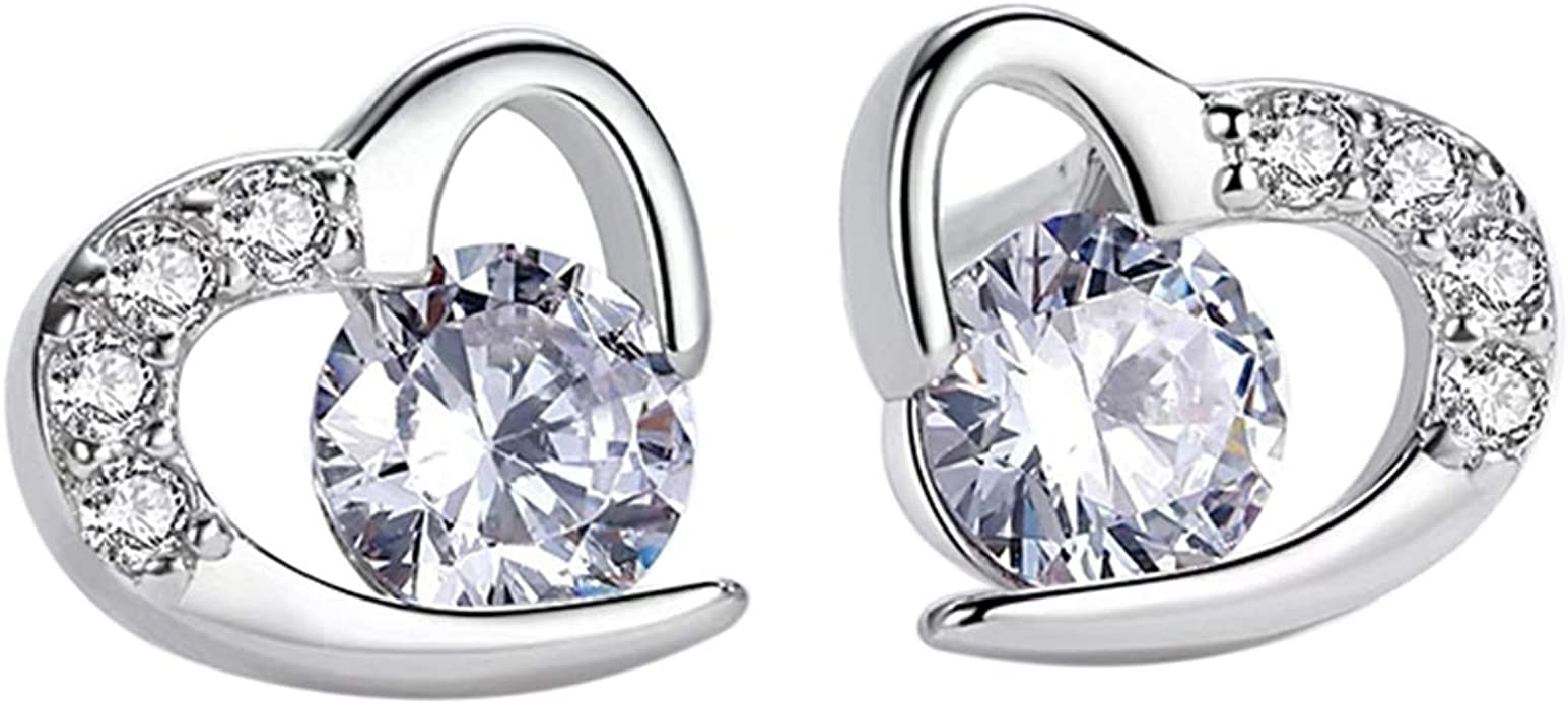 Elegant Beautiful Flower Crystal Earrings For Women Classic Heart Stud Earrings Fashion Party Jewelry Gift