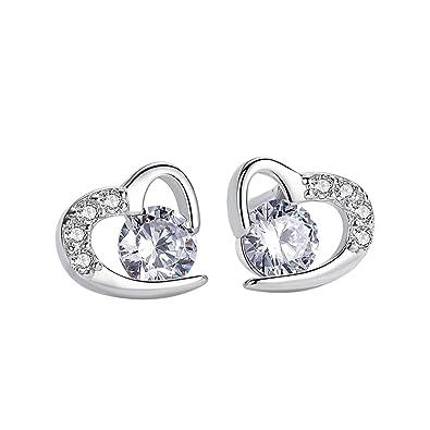 ce52f43ada Amilril Love Heart Stud Earrings, 925 Sterling Silver Women Cubic Zirconia  Fine Jewellery Elegant Gift