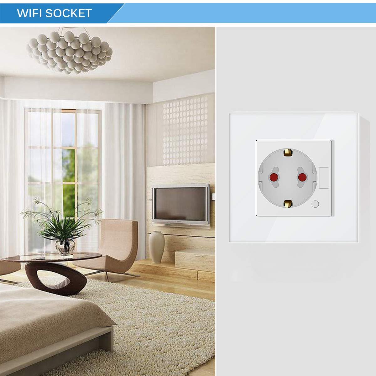 Blanco OurLeeme WiFi Enchufe Inteligente Enchufe de Pared de 10A Toma de Corriente Inteligente Control Remoto Control de Voz Temporizador Ahorro de energ/ía Funciona con Alexa Google Home