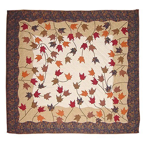 Patch Magic Queen Autumn Leaves Quilt, 85-Inch by 95-Inch