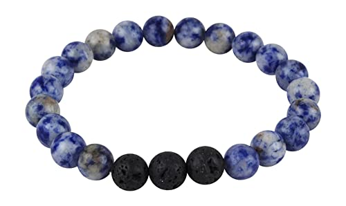 5f6185ff597b4f Mana Vibes Designed Lava Rock and Blue Sodalite Essential Oil Bracelet,  Essential Oil Jewelry: Mana Vibes: Amazon.ca: Jewelry