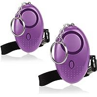 Mini Alarme Personnelle 130db avec Torche LED (2 Pack) Olycism Alarme d'urgence pour Femmes/Rape/Gées/Jogger/Protection D'auto-Défense/des étudiants (Violet)