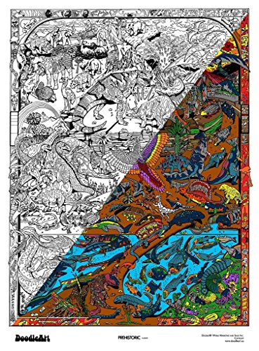 """The Original DoodleArt by PlaSmart - Prehistoric, Adult Coloring 24""""x 34"""" Poster & Non- Toxic  Precision 12 Marker Set, Reduce Stress, Ages 8 and Up"""