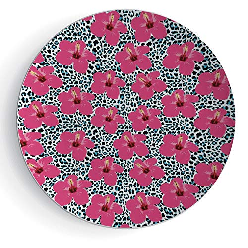 iPrint 6'' Porcelain Plate Hawaiian Decorations Tropical Hibiscus Flowers and Leopard Pattern Tropics Botanical Jaguar African Animal by iPrint
