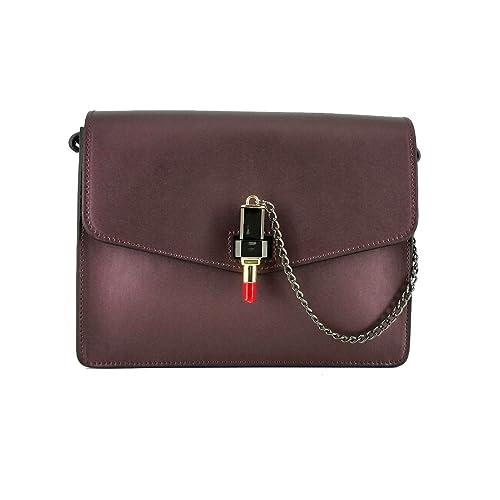 Laura Moretti Leather flap / crossbody bag with lipstick closure B076SC1G91