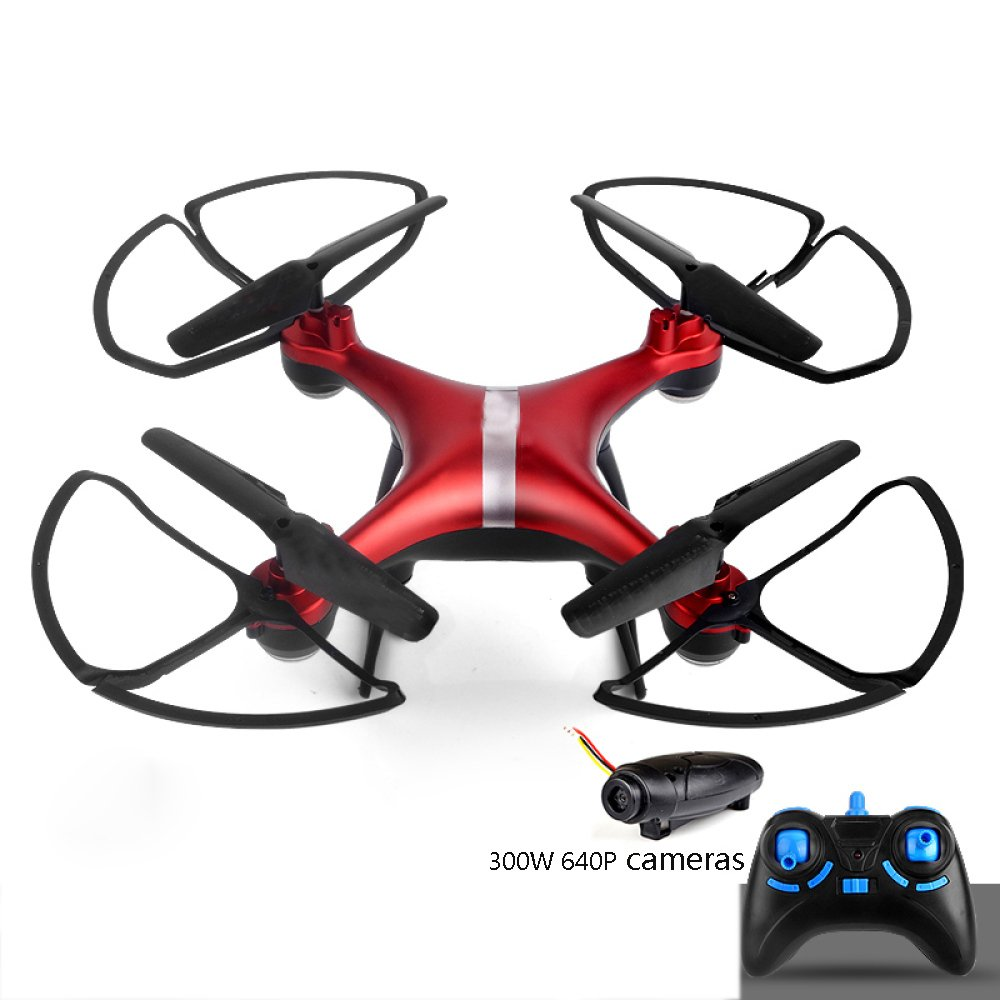 Drones RC Con Cámara HD 300W 640P Altitude Hold Y Modo Sin Cabeza 2.4GHz Quadcopter Con Un Solo Botón Despegue Aterrizaje One-Button 360 ° Volcado Drone Height Hold Steady Super Easy Fly Para Entrenamiento,Red-2Batteries