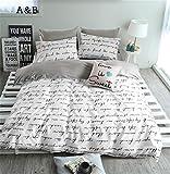 VClife Duvet Cover Queen Full Bedding Duvet Cover Sets-1 Duvet Cover 2 Pillowcases-Reversible Love Letter White Grey Pattern, Lightweight Comfortable Durable for Bedroom Guest Room, Chic Bedding Sets