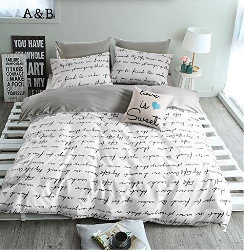 - VClife Duvet Cover Queen Full Bedding Duvet Cover Sets-1 Duvet Cover 2 Pillowcases-Reversible Love Letter White Grey Pattern, Lightweight Comfortable Durable for Bedroom Guest Room, Chic Bedding Sets