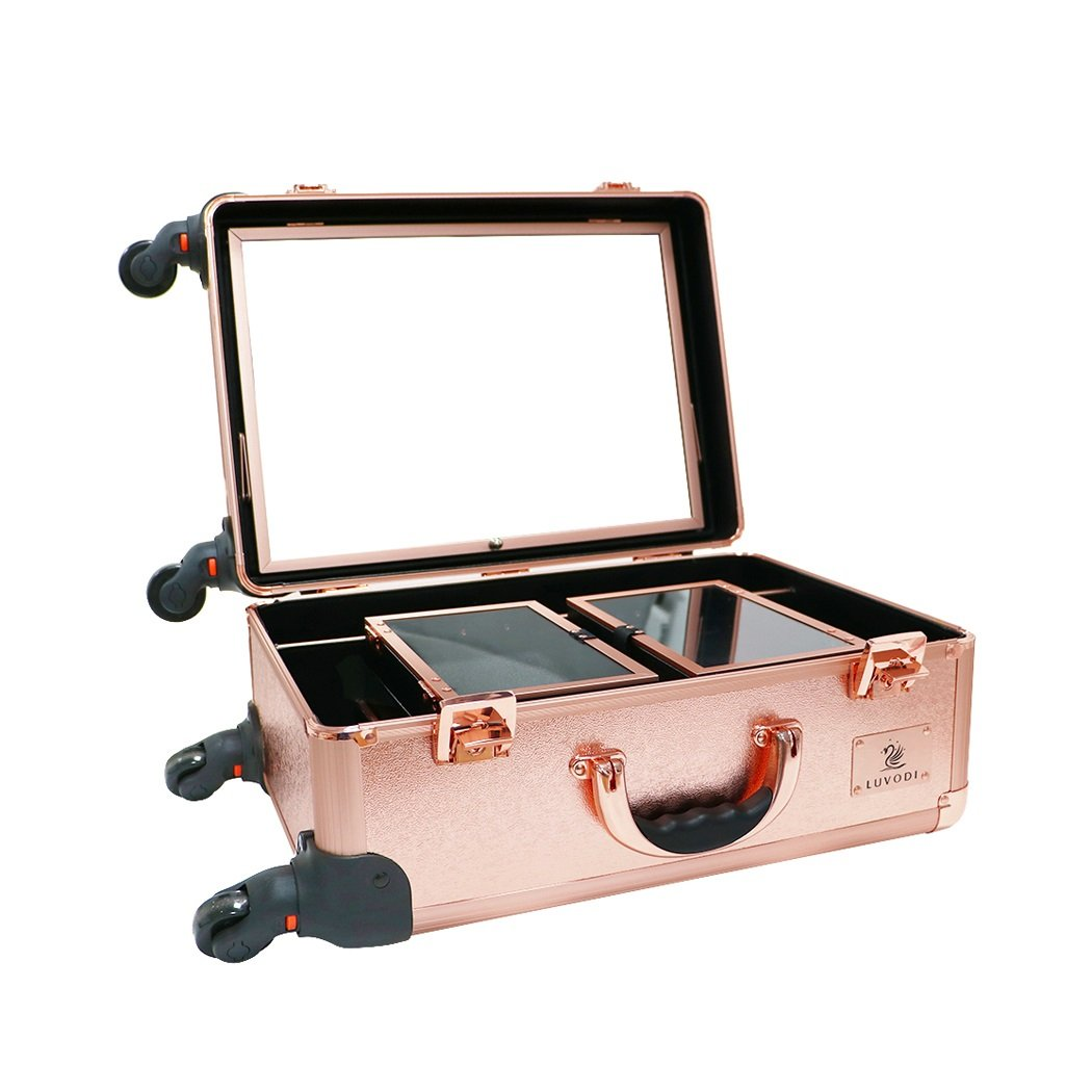 LUVODI Trolley Makeup Case with Adjustable Mirror Large Storage Travel Beauty Cosmetic Case Vanity Hairdressing Organiser Box Rolling 4 Wheels 2 Extendable Trays for Professional Makeup Artist, Rose Gold