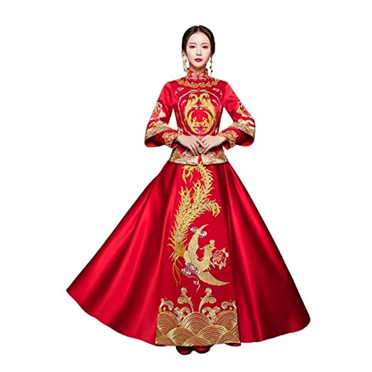0f0e8a0c105f Handmade Embroidery Women Phoenix Asian Bride Wedding Dress Qipao at Amazon  Women's Clothing store: