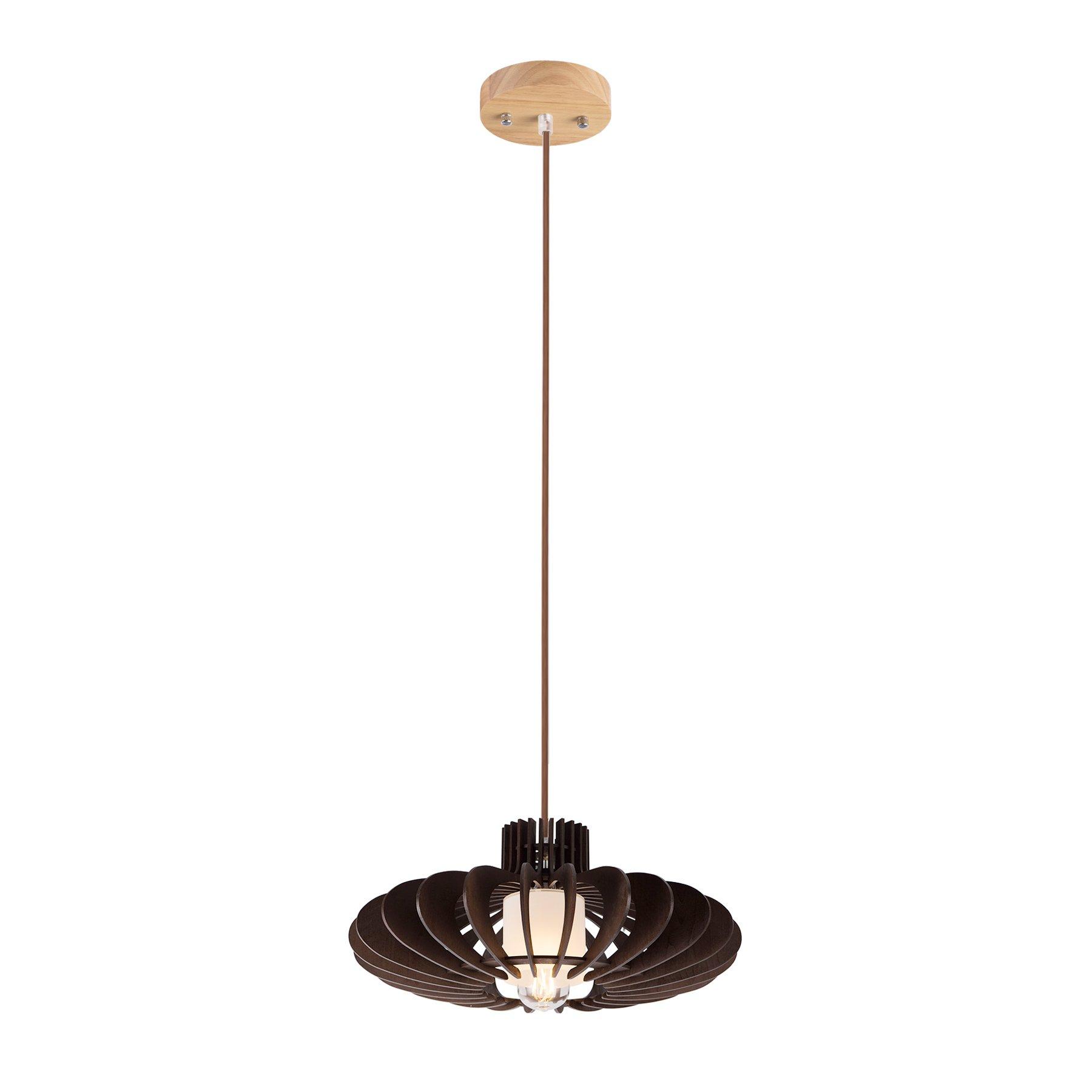 MAYKKE Oban Medium Wooden Pendant Lamp   Lantern Style with Dark Brown Rings, Hanging Light with Adjustable Cord   Walnut Wood Finish, MDB1040201 by Maykke (Image #2)