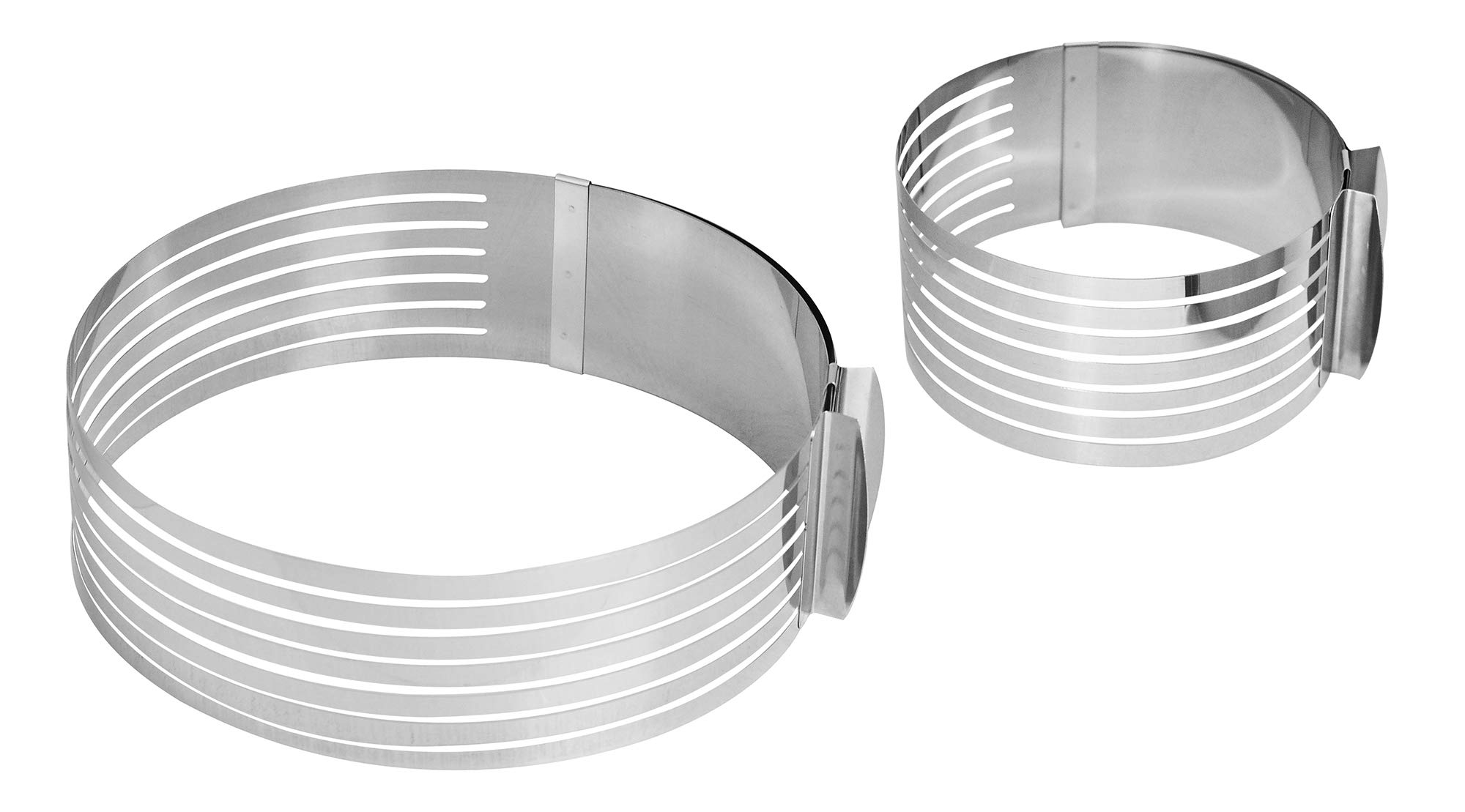 """NewlineNY Stainless Steel 2 Pieces Adjustable Multilayer Circular Molding Plating Forming Round Cake Rings, Set of 2 (10 to 12"""" + 6 to 8"""" x 3.2"""" H)"""