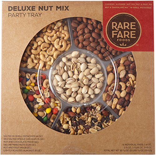 Rare Fare Foods Gourmet Mixed Nuts Gift Basket, Deluxe Holiday Party Tray