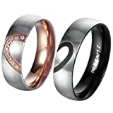 Amazon Price History for:AnazoZ His & Hers Real Love Heart Promise Ring Stainless Steel Couples Wedding Engagement Bands Top Ring, 6mm