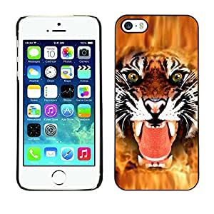 Be Good Phone Accessory // Dura Cáscara cubierta Protectora Caso Carcasa Funda de Protección para Apple Iphone 5 / 5S // Tiger Angry Face Big Cat Teeth Green Eyes