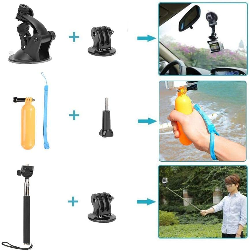 Hiking Fishing Skiing etc. Boating Pomya 6 in 1 Universal Action Camera Accessories Kit for Gopro Hero 7 5 6 Sports Cameras Great for Cycling
