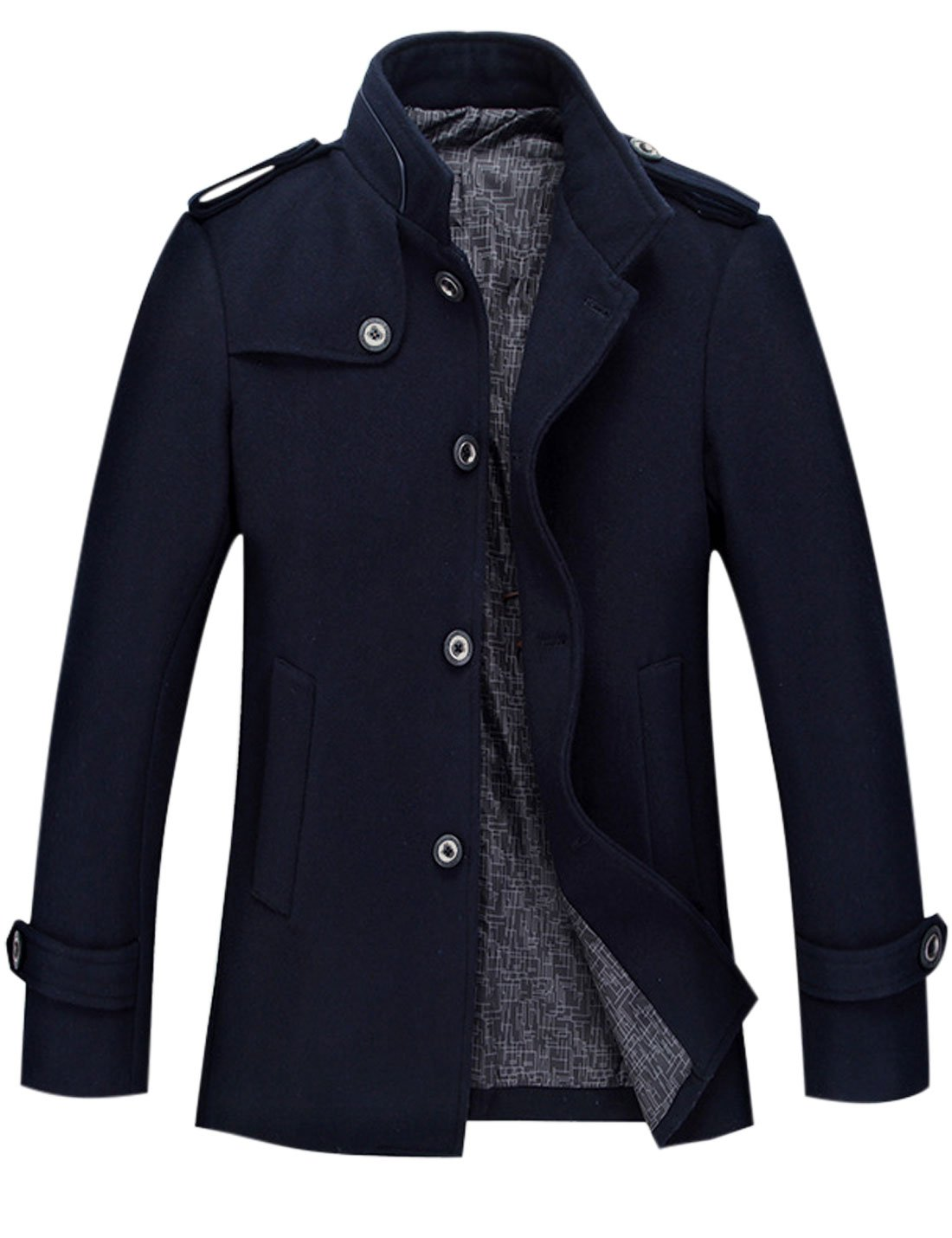 Tanming Men's Stylish Single Breasted Wool Blend Pea Coat Mutiple Colors (Medium, Blue)