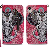 Case Compaitible with iPhone Xr, Flip Leather Wallet Flower Panda Pattern Cover for iPhone Xr (2, iPhone Xr 6.1'')