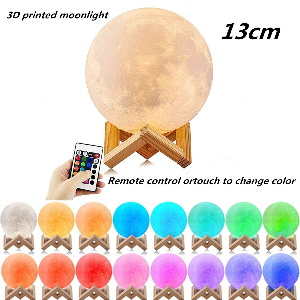 DSstyles LED 16/Colori 3D Printing Warm Luna Lampada con Telecomando Touch Control Light for Home Room Office Decaration 8 cm