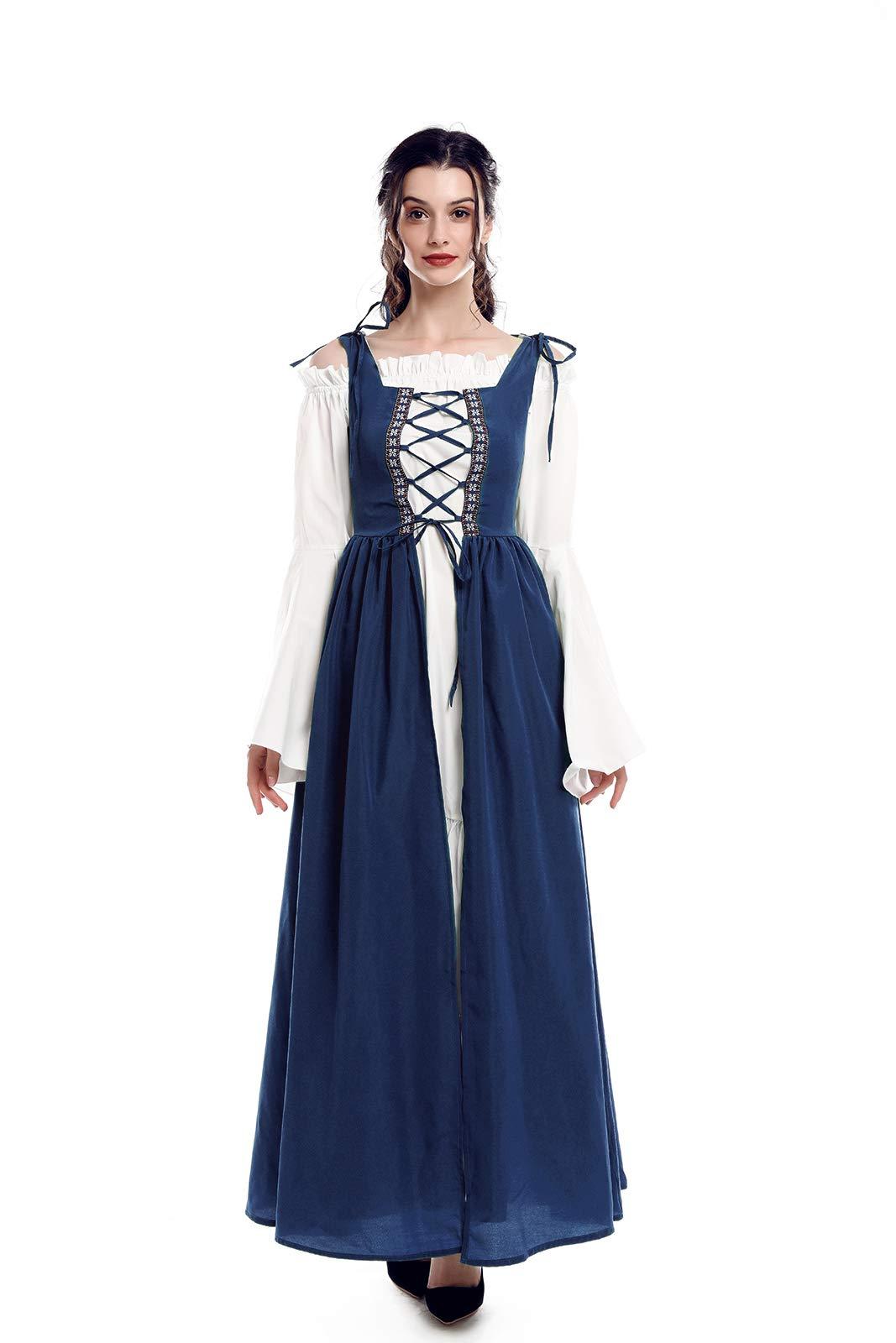 ab0fdfbc6944 ROLECOS Irish Renaissance Costume Womens Medieval Over Dress and Chemise  Boho Set Navy Blue XXL/3XL