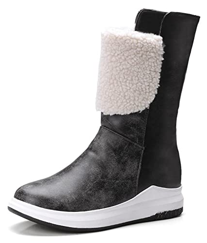 Women's Warm Cute Faux Fur Lined Round Toe Snow Boots Pull On Elevator Low Heels Winter Ankle Booties With Bows