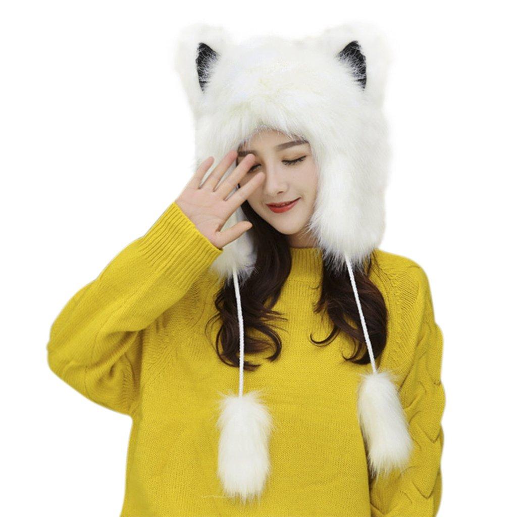 Animal Theme Full Hood Hats Earflap Skull Caps Winter Thermal Cozy Fluffy Furry Fancy Dress Party Halloween Cosplay Costume Headwear Beanies, Great Christmas Birthday Gift