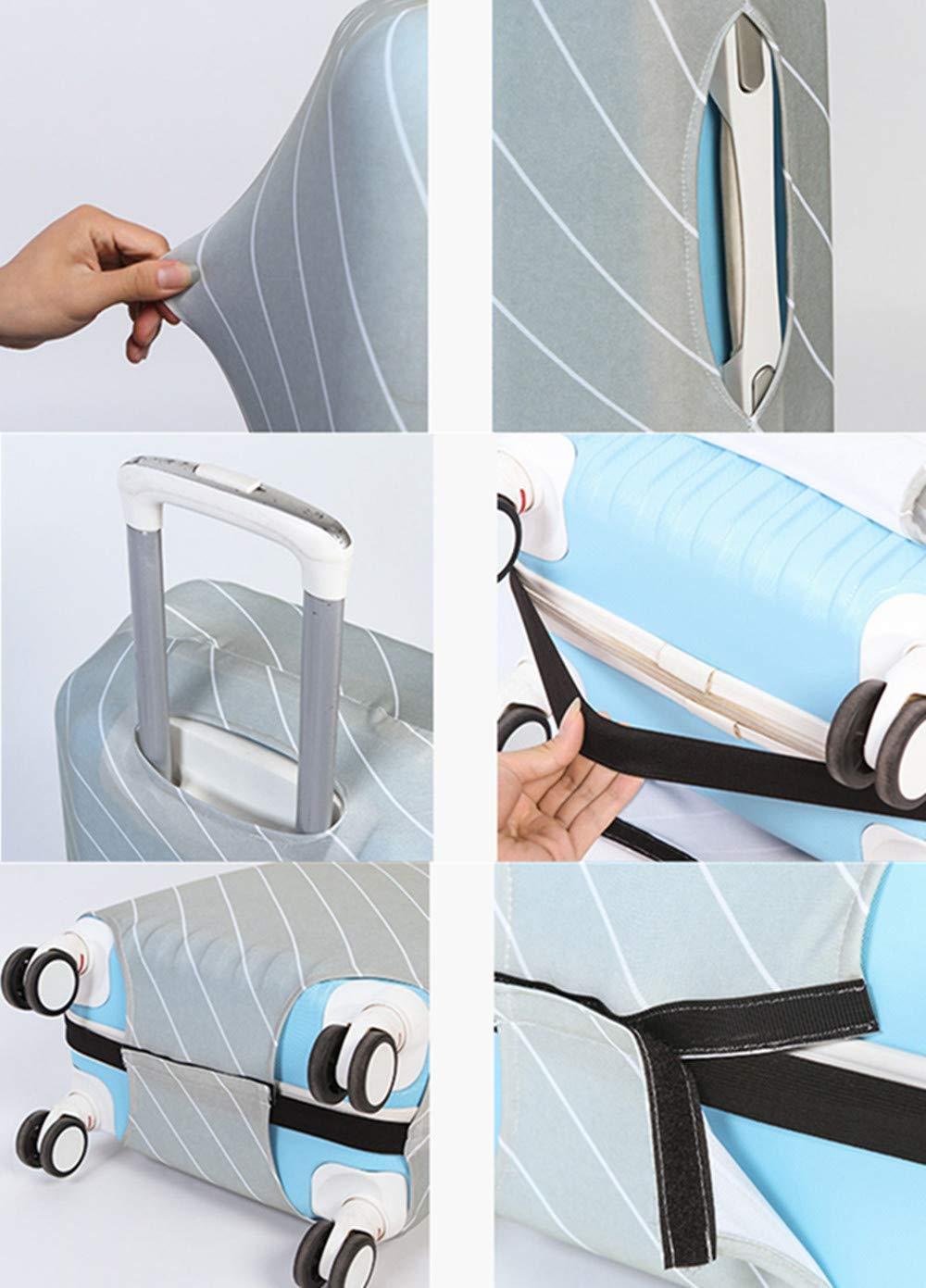 Housse de Valise Pouce Valise Pouces Luggage Cover en Polyester Protection De Valise Housse Bagage Voyager Protecteur Couverture Black White, L