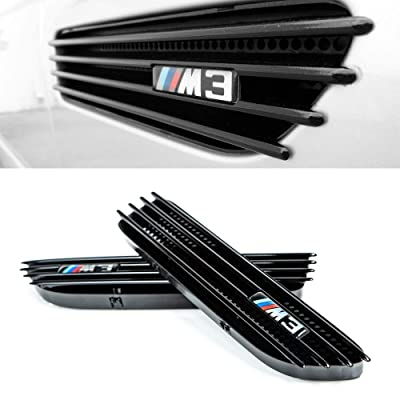 Glossy Black Side Fender Grille for BMW M3 E46 2001-2006 Vent Replacement Grills Compatible with Convertible and Coupe - Direct OEM Replacement include Left and Right side with Logo Stickers: Automotive