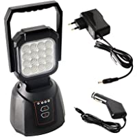 AAIWA Projecteur LED Lampe de Travail LED Rechargeable 48W 4800LM Lampe de Travaux Lampe Chantier pour Auto Camping Atelier Garage Terrasse Jardin Abri avec SOS Mode Base Magnétique