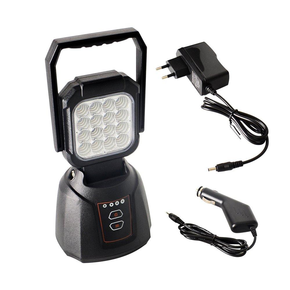 Projecteur LED AAIWA Lampe de Travail LED Rechargeable 48W 4800LM Lampe de Travaux Lampe Chantier Pour Auto Camping Atelier Garage Terrasse Jardin Abri avec SOS Mode Base Magné tique
