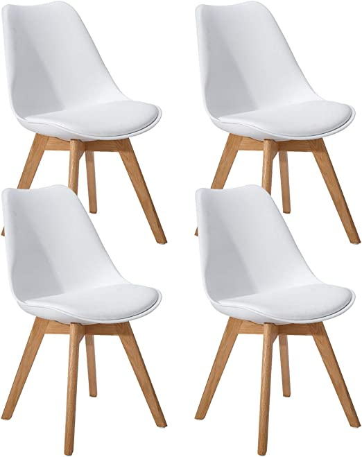 EGGREE Set di 4 Tulip PranzoUfficio Sedia con Gambe in Quercia Massiccio, (TM) Sedie Senza Braccia Imbottita di Design per Il Massimo Comfort