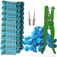 Ear Tags for Sheep Numbered 001-100 Ear Tag Applicator Identification Kit Goat Punch Tool(Blue)